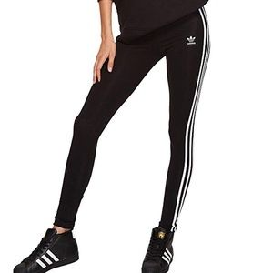Adidas black/white 3 stripes girls leggings sz XL